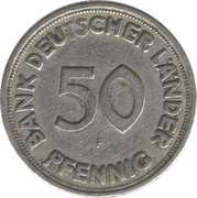 50 pfennig (Bank Deutscher Länder) – revers