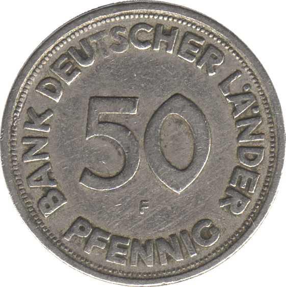 50 Pfennig Bank Deutscher Länder Allemagne République Fédérale