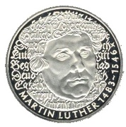5 deutsche mark Martin Luther -  revers
