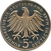 5 deutsche mark Martin Luther -  avers