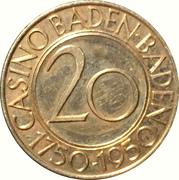 20 Mark - Casino Baden-Baden - 200th Anniversary – avers