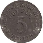 5 pfennig (Berlin - Konsum Genossenschaft) – avers