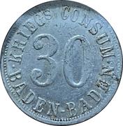 30 pfennig - Baden-Baden (Krieg's Consum Baden-Baden) – avers
