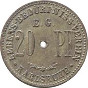 20 pfennig - Lebens-Bedürfniss-Verein E.G. (Karlsruhe) – avers