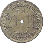 20 pfennig - Lebens-Bedürfniss-Verein E.G. (Karlsruhe) – revers