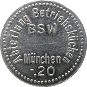20 pfennig - Abteilung Betriebsküchen BSW (München) – avers