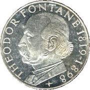 5 deutsche mark Theodor Fontane -  revers