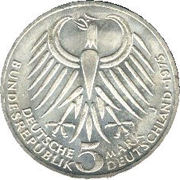 5 deutsche mark - Friedrich Ebert -  avers