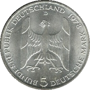 5 deutsche mark - Gustav Stresemann -  avers