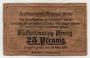 25 Pfennig (Allendorf a. Werra, Stadt) – avers