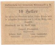 10 Heller (Altenmarkt a. d. Ysper) – revers