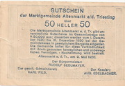 50 Heller (Altenmarkt a. d. Triesting) – revers