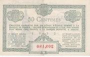50 centimes - Chambre de Commerce d'Amiens [80] – revers
