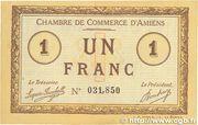 1 franc - Chambre de Commerce D'Amiens [80] <Timbre sec> – avers