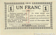 1 franc - Chambre de Commerce D'Amiens [80] <Timbre sec> – revers