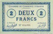 2 francs - Chambre de Commerce D'Amiens [80] <Timbre sec> -  avers