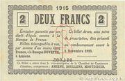 2 francs - Chambre de Commerce D'Amiens [80] <Timbre sec> – revers
