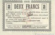 2 francs - Chambre de Commerce D'Amiens [80] – revers