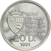 20 diners (Jeux des petits états européen) -  avers