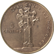 5 cèntims Croix gothique -  revers