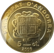 5 cèntims Benoît XVI – avers