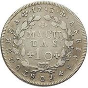 10 Macutas - Maria I & Pedro III -  revers