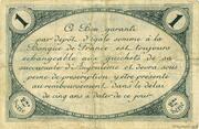 1 franc - Chambre de commerce d'Angoulème [16] <2ème série> – revers