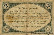 2 francs - Chambre de Commerce d'Angoulême [16] <4ème série> – revers