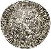 1 Ausbeutethaler - Wolfgang, Johann IV., Georg III. and Joachim I. (Harzgerode) – avers
