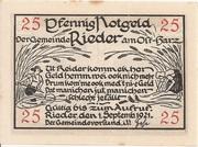 25 Pfennig (Rieder am Ostharz) – avers