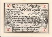 10 Pfennig (Rieder am Ostharz) – avers