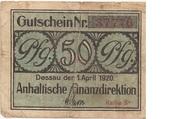 50 pfennig (Anhaltische Finanzdirektion) – avers