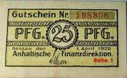 25 pfennig (Dessau) – avers
