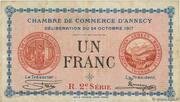 1 franc - Chambre de Commerce d'Annecy [74] – avers