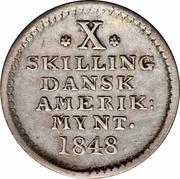 10 skilling - Frederik VII – revers