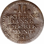 2 skilling - Frederik VII – revers