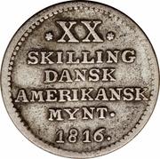 20 skilling - Frederik VI – revers