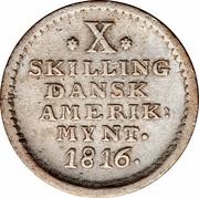 10 skilling - Frederik VI – revers