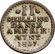2 skilling - Frederik VI – revers