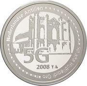 5 gulden - Beatrix (50e anniversaire de l'évêché de Willemstad) – revers