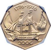 200 gulden - Juliana (Bicentenaire de l'indépendance des Etats-Unis) – revers