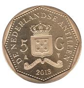5 gulden (150e anniversaire de l'abolition de l'esclavage) – avers