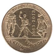 5 gulden (150e anniversaire de l'abolition de l'esclavage) – revers