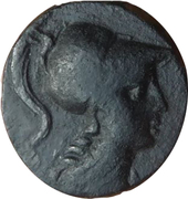 Bronze Æ - Helmeted head of Athena – avers