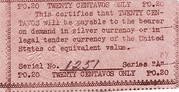 20 Centavos (Emergency Script of the Philippines) – revers