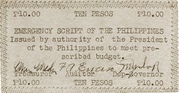 10 Pesos (Emergency Script of the Philippines) – avers