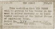 10 Pesos (Emergency Script of the Philippines) – revers