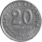 20 centavos San Martín – avers