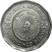 25 pesos (Première pièce de la patrie) – avers