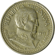 10 pesos (Amiral G. Brown) -  avers